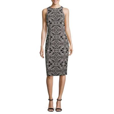 London Times Sleeveless Shift Dress-Petite