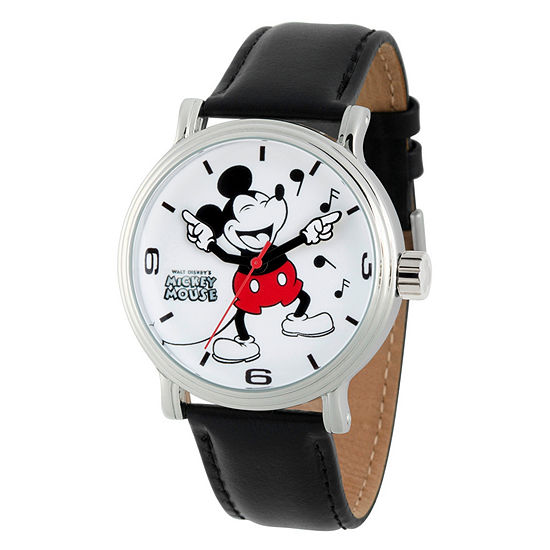 Disney Mickey Mouse Mens Black Leather Strap Watch-Wds000610