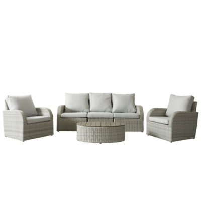 CorLiving Brisbane Weather Resistant Resin Wicker 6pc Patio Sofa Set