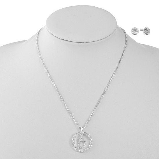 Liz Claiborne D Initial Silver Tone 2-pc. Jewelry Set