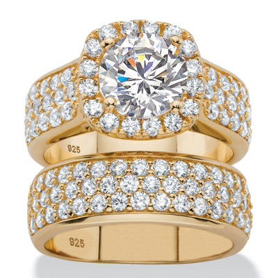 Diamonart Womens 4 1/2 CT. T.W. White Cubic Zirconia 14K Gold Over Silver Bridal Set