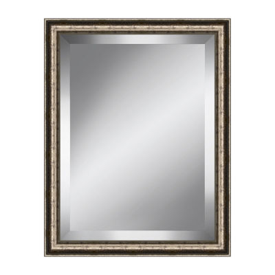 Traditional Silver and Black Speckled Beveled Plate Mirror