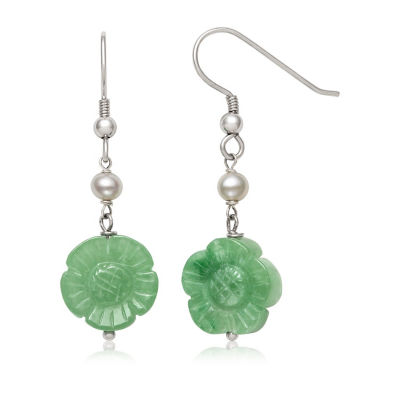 Green Jade CULTURED FRESHWATER PEARLS Sterling Silver Flower Drop Earrings