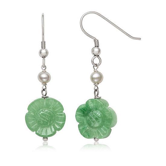 Green Jade Cultured Freshwater Pearl Sterling Silver Flower Drop Earrings