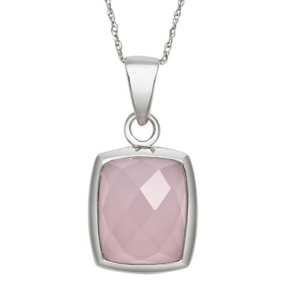 Womens Pink Quartz Sterling Silver Rectangular Pendant