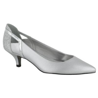 Easy Street Womens Fancy Pumps Slip-on Pointed Toe Kitten Heel