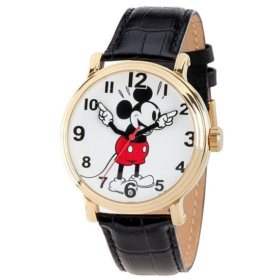 Disney Mickey Mouse Mens Black Strap Watch-Wds000611