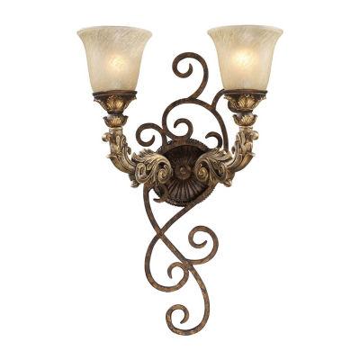 Regency 2 Light LED Wall Sconce In Burnt Bronze And Gold Leaf