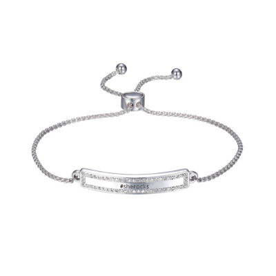Footnotes She Rocks Womens Clear Silver Over Brass Bolo Bracelet