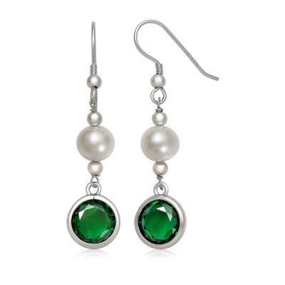 White Cultured Freshwater Pearl Round Drop Earrings