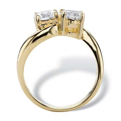 Diamonart Womens 2 CT. T.W. White Cubic Zirconia 14K Gold Over Silver Cocktail Ring