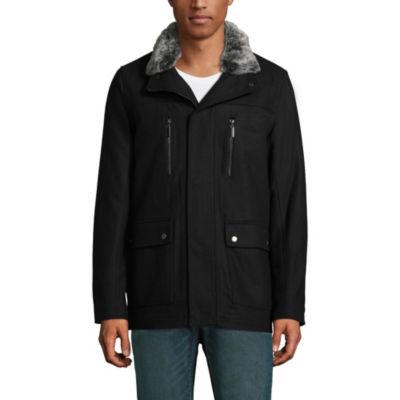 Vintage Leather Wool Blend Bomber Jacket