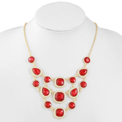 Monet Jewelry Womens Red Statement Necklace