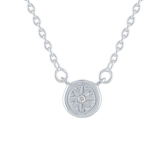 """Little Moments"" Womens Diamond Accent Genuine White Diamond Sterling Silver Round Pendant Necklace"