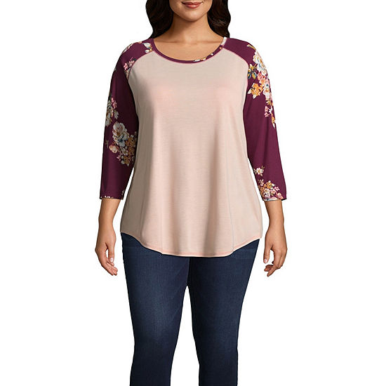 Boutique + 3/4 Raglan Sleeve T-Shirt - Plus