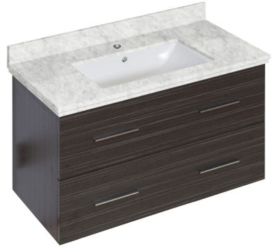 36-in. W Wall Mount Dawn Grey Vanity Set For 1 Hole Drilling Bianca Carara Top White UM Sink