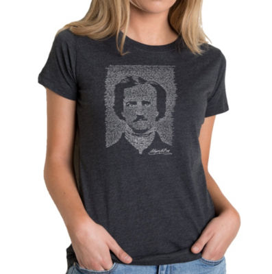 Los Angeles Pop Art Women's Premium Blend Word ArtT-shirt - EDGAR ALLEN POE - THE RAVEN