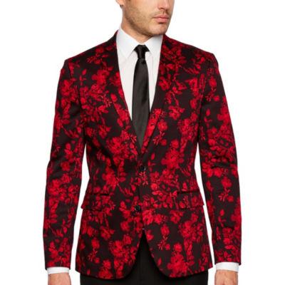 JF J.Ferrar Holiday Red Floral Super Slim Fit Sport Coat