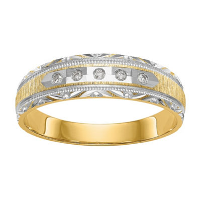 Mens Diamond Accent White Diamond 14K Gold Wedding Band