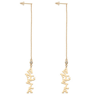 Personalized Simulated White Cubic Zirconia 14K Gold Over Silver Drop Earrings