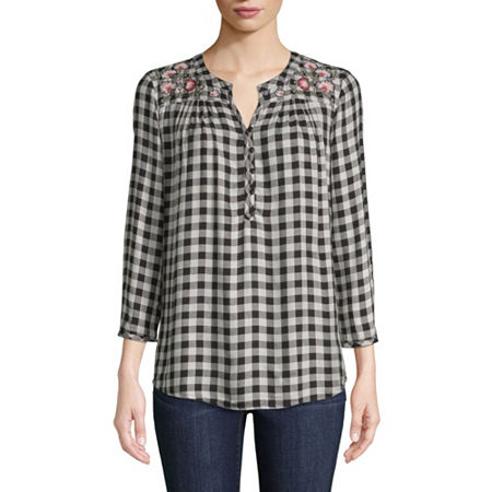 St. John's Bay 3/4 Sleeve Henley Neck Twill Embroidered Plaid Blouse, Large , Black