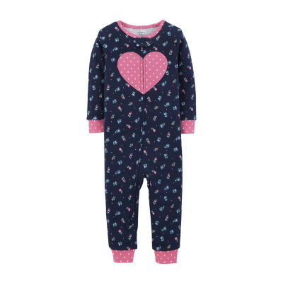 Carter's Girls Knit One Piece Pajama Long Sleeve Round Neck