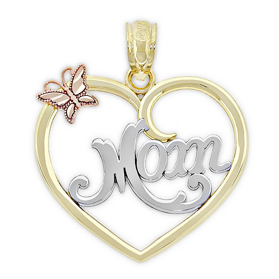 Womens 10K Gold Tri-Color Heart Pendant