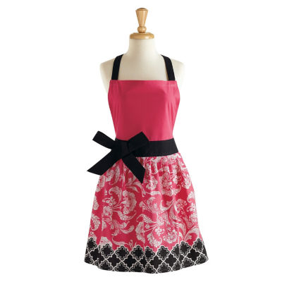 Pink And Black Riviera Floral Apron