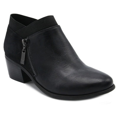 London Fog Womens Harper Bootie Stacked Heel Zip
