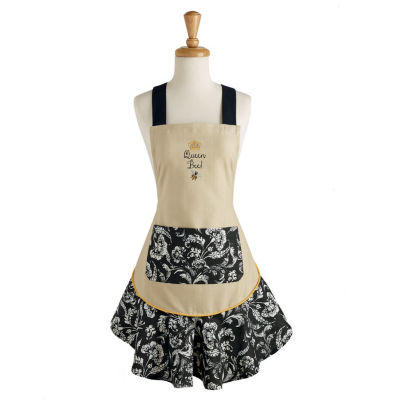 Queen Bee Embroidered Ruffle Apron