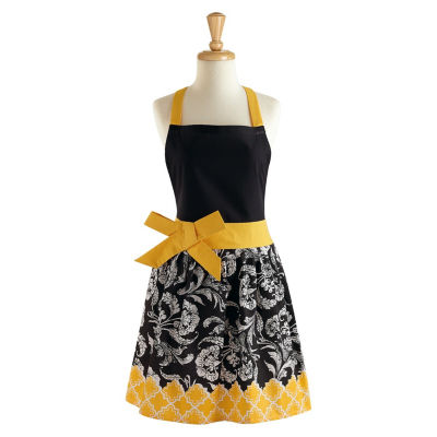 Black And Yellow Riviera Floral Apron