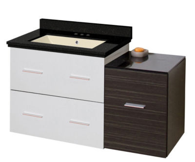 37.75-in. W Wall Mount White-Dawn Grey Vanity SetFor 3H4-in. Drilling Black Galaxy Top Biscuit UM Sink