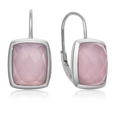 Pink Quartz Sterling Silver Rectangular Drop Earrings