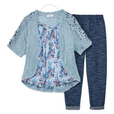 Knit Works Floral Top & Cozy Legging Set with Necklace - Girls' 4-16 & Plus