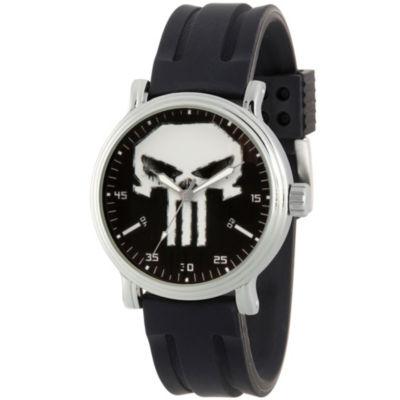 Punisher Mens Black Strap Watch-Wma000263