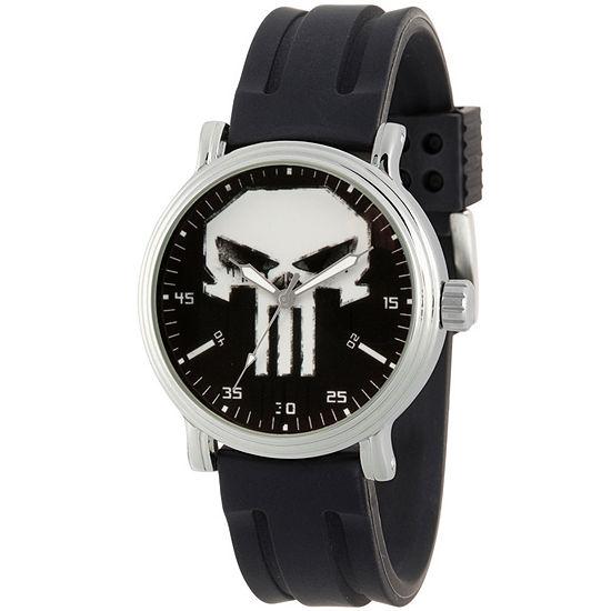 Marvel Punisher Mens Black Strap Watch-Wma000263