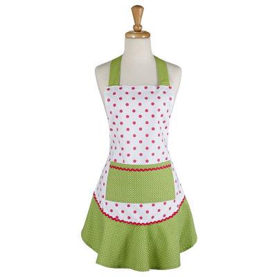 Pink And Green Polka Dot Ruffle Apron