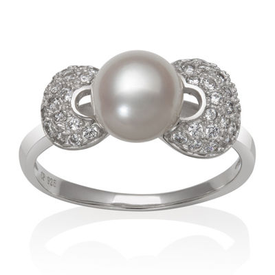 Womens 7MM White Cultured Freshwater Pearl Sterling Silver Round Band