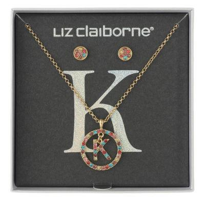 Liz Claiborne Womens Multi Color Gold Tone 2-pc. Jewelry Set