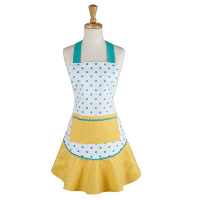 Aqua And Yellow Polka Dot Ruffle Apron