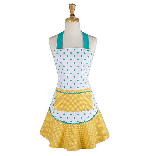 Aqua And Yellow Polka Dot Ruffle Apron