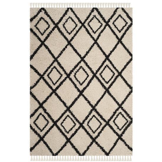 Safavieh Moroccan Fringe Shag Collection Aidan Geometric Square Area Rug