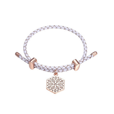 Footnotes Clear Rose Tone Pure Silver Over Brass Bolo Bracelet