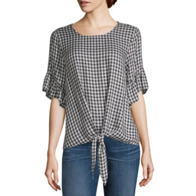 Liz And Co Short Sleeve Crew Neck Woven Blouse