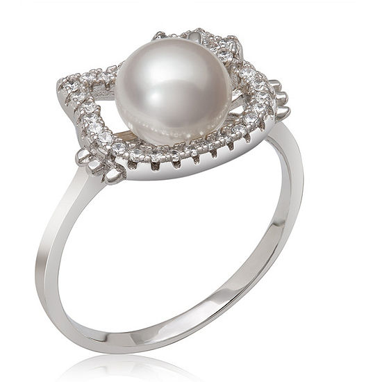 Womens 7MM White Cultured Freshwater Pearl Sterling Silver Round Hello Kitty Band
