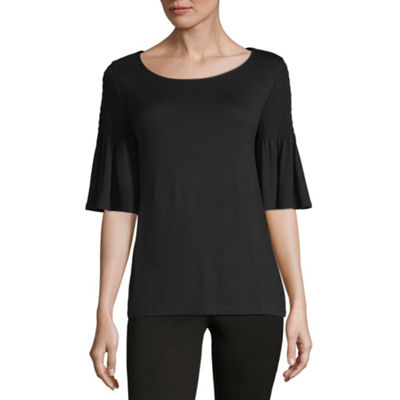 Liz Claiborne Elbow Sleeve Smocked Top-Womens