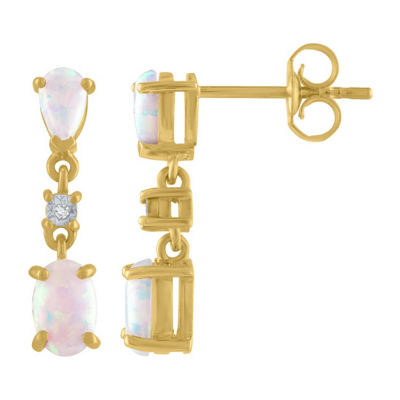 Lab Created Multi Color Opal 10K Gold Drop Earrings