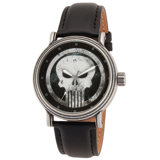Marvel Punisher Mens Black Leather Strap Watch-Wma000264