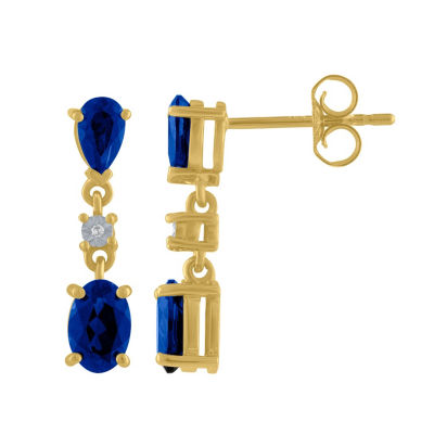 Lab Created Blue Sapphire 10K Gold Drop Earrings