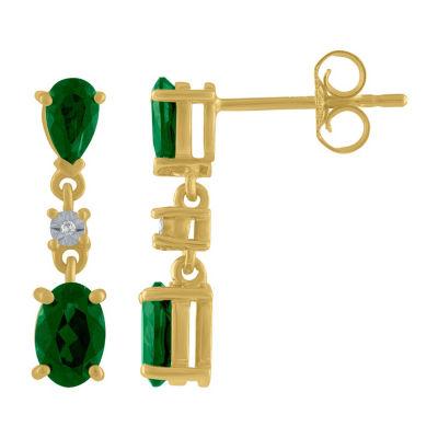 Lab Created Green Emerald 10K Gold Drop Earrings